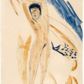 W & K – Wienerroihter & Kohlbacher, Ernst Ludwig Kirchner (1880–1938) Stretching Nude c.1913-14 Watercolour over drawing in pencil on vellum Signed by Erna Kirchner (lower right): E L Kirchner 58,9 x 45,9 cm Provenance: Collection Ernesto Blum, Caracas