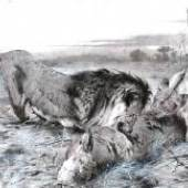 Startpreis: € 700,- Wilhelm Kuhnert, Löwenpaar beim Mahl, Holzdruck-Stock, signiert