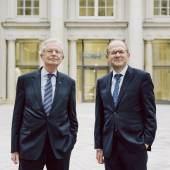 Wilhelm von Boddien, Geschäftsführer des Fördervereins Berliner Schloss e.V., und Johannes Wien, Vorstand der Stiftung Humboldt Forum im Berliner Schloss. © Dan Zoubek