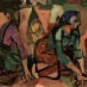 Katalog-Nr. 220 - Willem Grimm (1904 - 1986) - Öl auf Malkarton, Die Kartoffelsammlerinnen