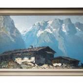 Oskar Mulley (Klagenfurt 1891 - 1949 Garmisch - Partenkirchen) Berghof im Hochgebirge Öl auf Leinwand, signiert, 80 x 135 cm  Zur Verfügung gestellt von: Kunst & Antiquitäten Wimberger