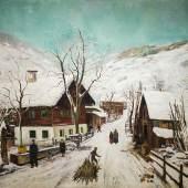"""Ernst Huber (1895 - 1969) """"Winter in Wagrain"""" Öl auf Leinwand; signiert, 100 x 131 cm  Zur Verfügung gestellt von: Kunst & Antiquitäten Wimberger"""