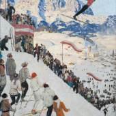 """Alfons Walde,  """"Grubschanze bei Kitzbühel"""", 1925, Tempera auf Karton, 56,5 x 45 cm, signiert rechts unten: Walde  Foto: W&K Wienerroither & Kohlbacher"""