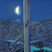 Wolfgang Mattheuer, Mond über der Stadt, 1971, Farbsiebdruck, (50,5 x 65,2) 60,2 x 75,2 cm; Foto: Gabriele Bröcker © VG Bild-Kunst Bonn 2015