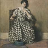 Hilda Belcher (Pittsford, VT 1881 - 1963 Orange, NJ) The Checkered Dress (Portrait of O'Keeffe) Watercolor and gouache on cream laid paper, with JW watermark, mounted on paperboard Bequest of Mary S. Bedell, class of 1873, 1932.1.5, Loeb Art Center, Vassar College.