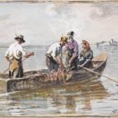 Joseph Wopfner Chiemseefischer Gouache 10,1 x 16,8 cm