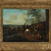 """Wouwerman, Pieter, zugeschr., 1623 Haarlem - 1682 Amsterdam Öl/Lwd, doubl., 39 x 54 cm, """" Uferpartie mit Jagdgesellschaft """",  Mindestpreis:10.000 EUR"""