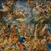 Joachim anthonisz. Wtewael  A Banquet of the Gods signed lower left: J(?) V WÆL FECIT oil on copper, set into an early seventeenth century oak panel 6⅛ by 8⅛ in.; 15.5 by 20.5 cm. Estimate $5/7 million