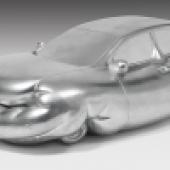 Erwin Wurm* (geb. 1954) Fat Car, 2005 Mischgips, silber bemalt H. 34, B. 102, T. 57 cm