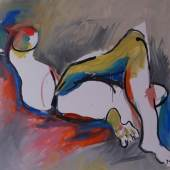 """Alfred Kornberger (Wien 1933 - 2002 Wien) """"Liegender kopfloser Akt"""" 1996 (WV 1064) Öl auf Leinwand 120 x 120 cm (Kunsthandel und Galerie Czaak)"""