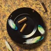Stillleben Patronen und Feder, russischer Künster, 1987, Öl auf Lwd., Foto SHMH, Elke Schneider