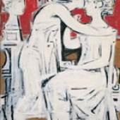 Yannis Moralis (1916) Grabkomposition, 1958 Eitempera und Öl auf Hartfaserplatte, 107 x78 cm. © Staatliche Kunstgalerie und Alexander Soutzos Museum