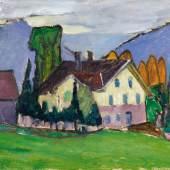 """Gabriele Münter """"Bauernhaus bei Regen"""" 1914 Öl auf Malkarton 33 x 41cm Taxe: 250.000 - 350.000 Euro"""
