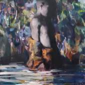 Yongchul Kim, Spiegelung 2018, Öl auf Leinwand, 100 x 80 cm