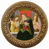Sandro Botticelli und Werkstatt  Madonna mit dem Kind, Johannes dem Täufer und einem Engel | Ø 87,5cm  Tempera / Öl auf Pappel  Ergebnis: 448.000 Euro