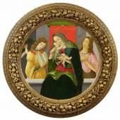 Sandro Botticelli und Werkstatt  Madonna mit dem Kind, Johannes dem Täufer und einem Engel   Ø 87,5cm  Tempera / Öl auf Pappel  Ergebnis: 448.000 Euro