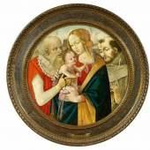 Filippino Lippi – Schule Maria mit Kind und zwei Heiligen  Tempera auf Pappel | Ø ca. 89 cm  Original Rahmen, um 1500.  Ergebnis: 268.800 Euro