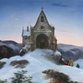 Ernst Ferdinand Oehme  Bergkapelle im Winter | 1842  Öl auf Leinwand | 78 x 110cm  Ergebnis: 281.600 Euro