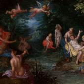 """Jan Brueghel d.Ä. (1568-1625) und Hendrik van Balen (1575-1632) """"Diana und Callisto"""" Öl auf Kupfer, 9,3 x 16,4 cm Expertisen: Dr. Birgit Schmidt-Messner und Dr. Klaus Ertz  Foto: © Kunsthandel Zöchling"""
