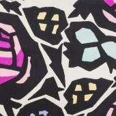 Franz von Zülow, Muster für Stoff «Dorf- rose», Entwurf 1910/11. Auftraggeber: Wiener Werkstätte, 1910 bis 1928; Aus- führung: Gustav Ziegler, Wien; Ausführung: Anonym, Zürich Seide, bedruckt, Leinwandbindung MAK – Museum für angewandte Kunst, Wien, Foto © MAK/Kristina Wissik
