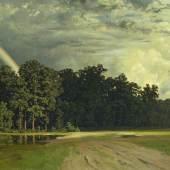 Robert Zünd, Gewitterlandschaft mit Regenbogen (Eichwäldli), 1859 Öl auf Leinwand, 43 x 76.8 cm, Kunstmuseum Luzern, Leihgabe aus Privatbesitz