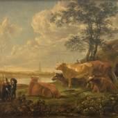 Robert Zünd, Paysage près de Rhenen : vaches au pâturage et berger jouant de la flûte (Kopie nach Aelbert Cuyp), 1861 Öl auf Leinwand, 30.5 x 42 cm, Kunstmuseum Luzern, Leihgabe aus Privatbesitz