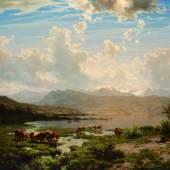 Robert Zünd, Landschaft am Vierwaldstättersee, undatiert, Öl auf Leinwand, 76.9 x 103.5 cm, Kunstmuseum Basel, Ankauf mit Mitteln des Birmann-Fonds 1883