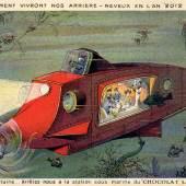 """Zukunftsvisionen aus dem Jahr 1912 Aus der Serie """"Wie unsere zukünftigen Enkel im Jahre 2012 leben"""" Sammelbild der Firma Chocolat Lombart, Paris Sammlung Peter Weiss, www.postcard-museum.com"""