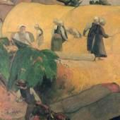 """Gauguin, Paul  Ernte in der Bretagne Impressionismus  Das Gemälde """"Ernte in der Bretagne"""" von Paul Gauguin als hochwertige, handgemalte Ölgemälde-Replikation. © www.oel-bild.de"""