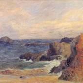 """Gauguin, Paul  Felsige Meerkueste Impressionismus  Das Gemälde """"Felsige Meerkueste"""" von Paul Gauguin als hochwertige, handgemalte Ölgemälde-Replikation. © www.oel-bild.de"""