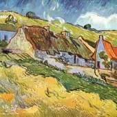"""Bauernhuetten in Auvers Impressionismus Das Gemälde """"Bauernhuetten in Auvers"""" von Vincent Willem van Gogh als hochwertige, handgemalte Ölgemälde-Replikation. Quelle: www.oel-bild.de"""