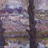 """Gogh, Vincent Willem van  Blick auf Arles Impressionismus   Das Gemälde """"Blick auf Arles"""" von Vincent Willem van Gogh als hochwertige, handgemalte Ölgemälde-Replikation. Originalformat: 72 x 92 cm   www.oel-bild.de"""