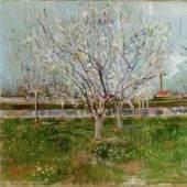 """Gogh, Vincent Willem van  Bluehender Obstgarten Impressionismus   Das Gemälde """"Bluehender Obstgarten"""" von Vincent Willem van Gogh als hochwertige, handgemalte Ölgemälde-Replikation. Originalformat: 53 x 64 cm   ©  www.oel-bild.de"""