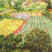 """Gogh, Vincent Willem van Das Mohnblumenfeld Impressionismus Das Gemälde """"Das Mohnblumenfeld"""" von Vincent Willem van Gogh als hochwertige, handgemalte Ölgemälde-Replikation. Quelle: www.oel-bild.de"""