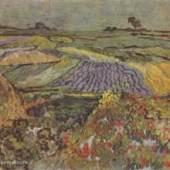 """Gogh, Vincent Willem van  Ebene bei Auvers Impressionismus   Das Gemälde """"Ebene bei Auvers"""" von Vincent Willem van Gogh als hochwertige, handgemalte Ölgemälde-Replikation. Originalformat: 50 x 100 cm"""