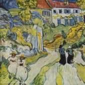 """Gogh, Vincent Willem van  Strasse und Weg in Auvers Impressionismus   Das Gemälde """"Strasse und Weg in Auvers"""" von Vincent Willem van Gogh als hochwertige, handgemalte Ölgemälde-Replikation. Originalformat: 51 x 71 cm    © www.oel-bild.de"""