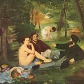 """Cezanne Paul - Manet Edouard Fruehstueck Impressionismus. Das Gemälde """"Fruehstueck"""" von Edouard Manet als hochwertige, handgemalte Ölgemälde-Replikation. Quelle: www.oel-bild.de"""