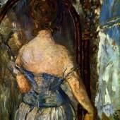 """Manet, Edouard Vor dem Spiegel Impressionismus Das Gemälde """"Vor dem Spiegel"""" von Edouard Manet als hochwertige, handgemalte Ölgemälde-Replikation. Quelle: www.oel-bild.de"""