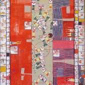 Friedrich Hundertwasser Das Match des Jahrhunderts, 1952 Öl auf weißgrundierter, alter, in Holz gearbeitet Spiegelfassung mit kubischen Vorsprüngen 190 x 103 cm € 268.599,-