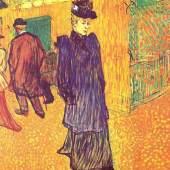 """Toulouse Lautrec, Henri de Jane Avril verlaesst das Moulin Rouge Impressionismus Das Gemälde """"Jane Avril verlaeßt das »Moulin Rouge«"""" von Henri de Toulouse Lautrec als hochwertige, handgemalte Ölgemälde-Replikation. Quelle: www.oel-bild.de"""