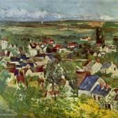 """Cezanne, Paul  Blick auf Auvers Impressionismus   Das Gemälde """"Blick auf Auvers"""" von Paul Cezanne als hochwertige, handgemalte Ölgemälde-Replikation. Originalformat: 65 x 80 cm. Quelle: www.oel-bild.de."""