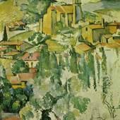 """Cezanne Paul - Cézanne Blick auf Gardanne 1885-86 , New York, The Brooklyn Museum. Das Gemälde """"Blick auf Gardanne"""" von Paul Cezanne als hochwertige, handgemalte Ölgemälde-Replikation. Quelle: www.oel-bild.de"""