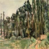 """Cezanne, Paul  Die Pappeln Impressionismus   Das Gemälde """"Die Pappeln"""" von Paul Cezanne als hochwertige, handgemalte Ölgemälde-Replikation. Originalformat: 62 x 78 cm. Quelle: www.oel-bild.de."""