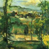 "Cezanne, Paul  Dorf hinter den Baeumen Impressionismus   Das Gemälde ""Dorf hinter den Baeumen"" von Paul Cezanne als hochwertige, handgemalte Ölgemälde-Replikation. Originalformat: 65 x 46 cm. Bildmaterial: www.oel-bild.de"