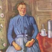 "Cezanne, Paul  Frau mit Kaffeekanne Impressionismus   Das Gemälde ""Frau mit Kaffeekanne"" von Paul Cezanne als hochwertige, handgemalte Ölgemälde-Replikation. Origianlformat: 131 x 97 cm. Quelle: www.oel-bild.de."