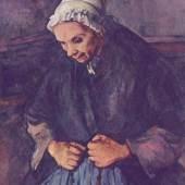 """Cezanne, Paul  Greisin mit Rosenkranz Impressionismus   Das Gemälde """"Greisin mit Rosenkranz"""" von Paul Cezanne als hochwertige, handgemalte Ölgemälde-Replikation. Originalformat: 80 x 64 cm. Quelle: www.oel-bild.de."""