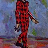 """Cezanne Paul - Cézanne Harlekin Impressionismus Das Gemälde """"Harlekin um 1888 """" von Paul Cezanne als hochwertige, handgemalte Ölgemälde-Replikation. Quelle: www.oel-bild.de"""