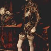 Diese Bilder-Vorlage Portrait Philipp II Von Tizian Malerei als hochwertiges, handgemaltes Gemälde. Wir malen Ihr Ölgemälde nach Ihrer Vorlage. Originalformat: 193 x 111 cm Entstanden: 1551