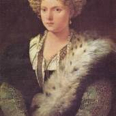 Diese Bilder- Vorlage Portrait der Isabella d Este, Markgraefin von Mantua Von Tizian Bilder als hochwertiges, handgemaltes Gemälde. Wir malen Ihr Ölgemälde nach Ihrer Vorlage. Originalformat: 102 x 64 cm