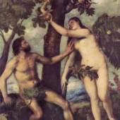 Diese Bilder-Vorlage Suendenfall Von Tiziano als hochwertiges, handgemaltes Gemälde. Wir malen Ihr Ölgemälde nach Ihrer Vorlage. Originalformat: 240 x 186 cm Entstanden: um 1570